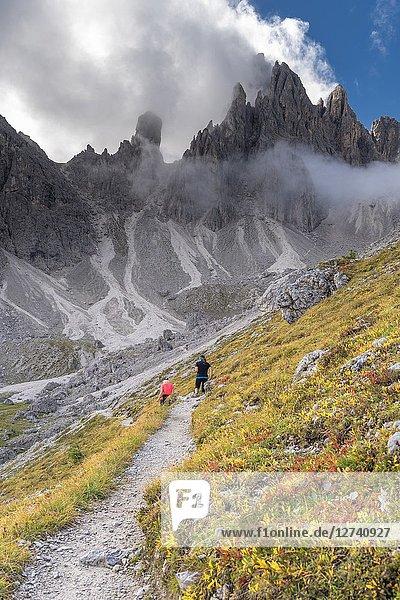Misurina  Dolomites  province of Belluno  Veneto  Italy. Hike to the refuge Fonda Savio in the Cadini mountain group.
