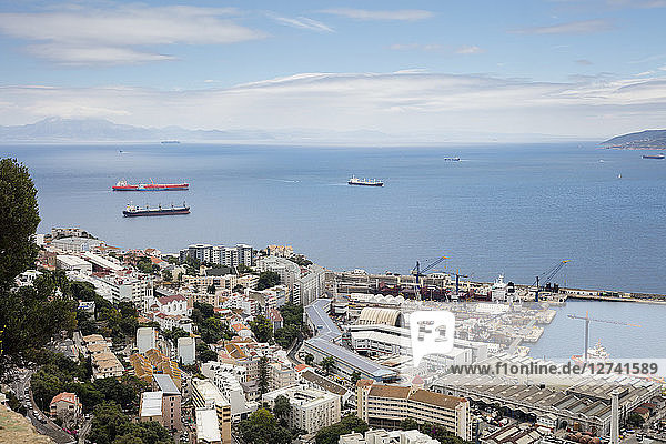 Gibraltar  view to city  harbour and Mediterranean Sea from above