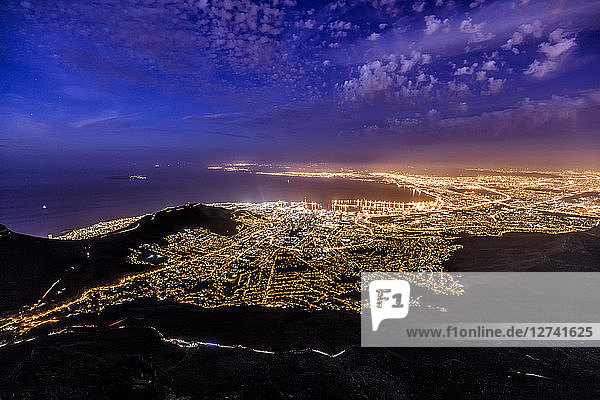 South Africa  Cape Town  illuminated city at night