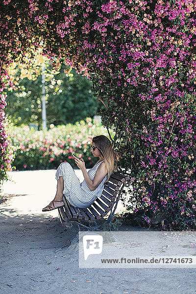 Woman with cell phone sitting on bench in park under pink blossoms