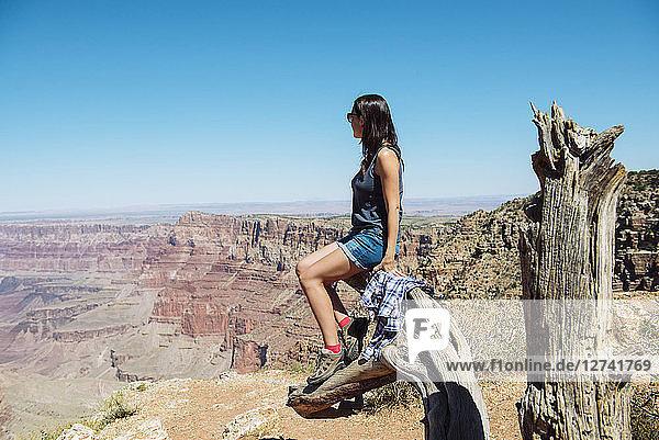 USA  Arizona  Grand Canyon National Park  Grand Canyon  woman looking at view