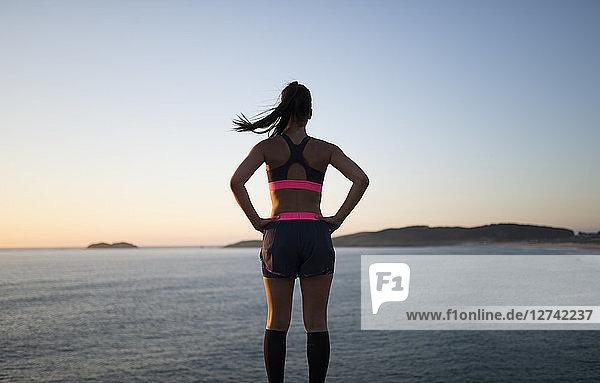 Sportive woman watching sunset  rear view