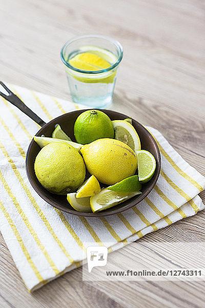 Fresh lemon in pan