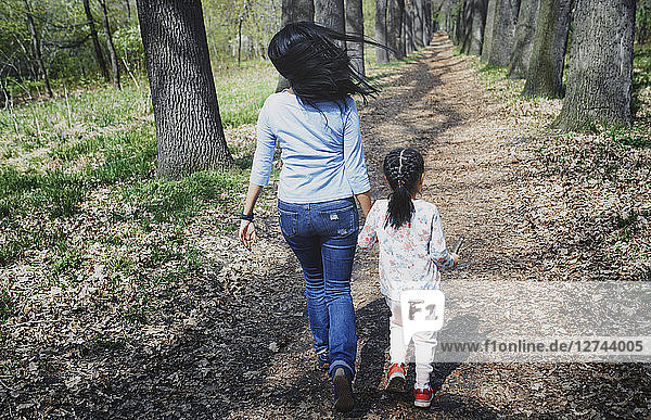 Mother and daughter walking in park  rear view