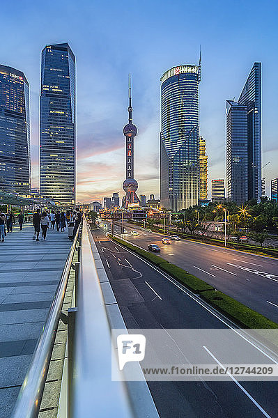 China  Shanghai  Lujiazui  skyline of at Blue hour