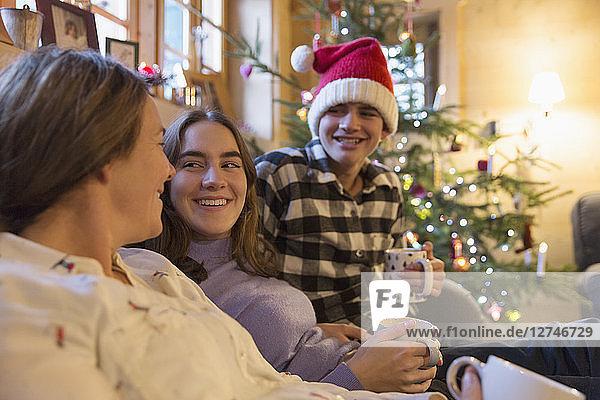 Family relaxing in Christmas living room
