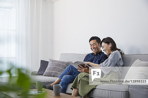 Japanese mature couple on the sofa