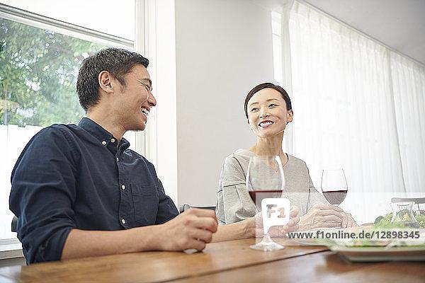 Japanese mature couple eating