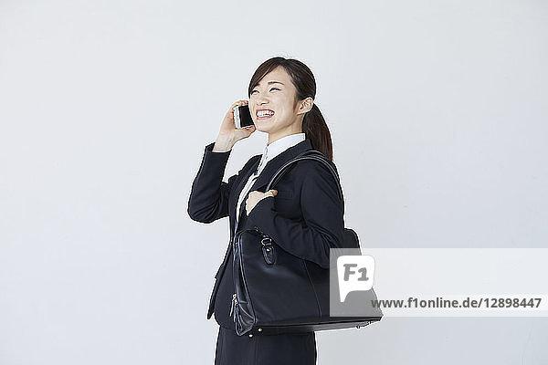 Japanese businesswoman on white background