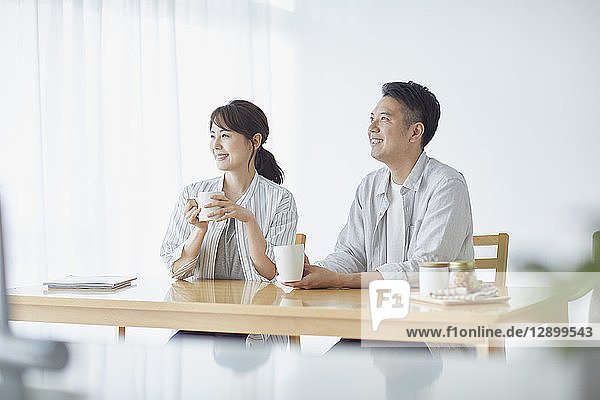 Japanese couple in the kitchen