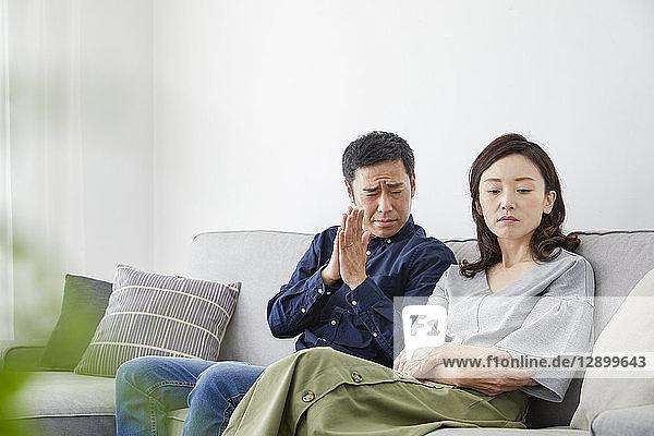 Japanese mature couple on the sofa