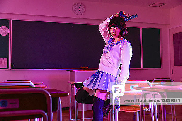 Japanese high-school girl gone bad