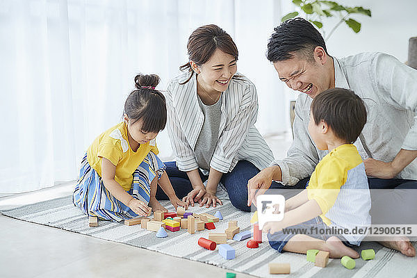 Japanese family in the living room