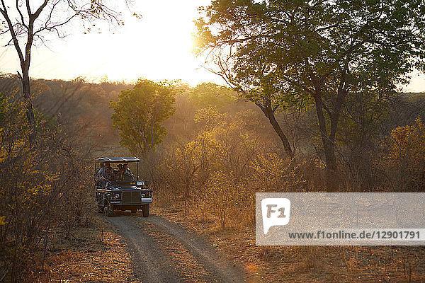 Touristen auf Landkreuzfahrt  Victoriafälle  Simbabwe