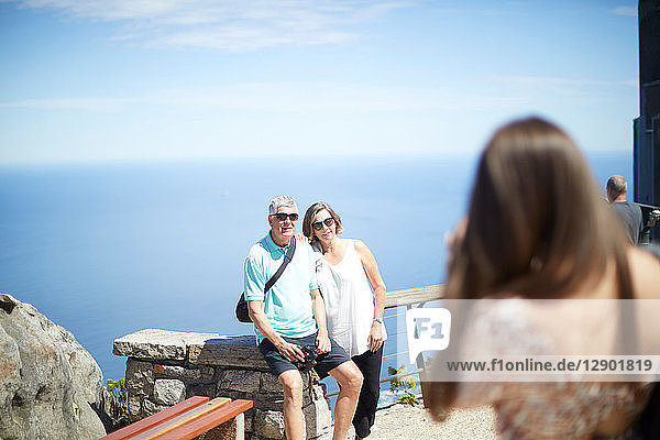 Tourists posing for photograph  Cape Town  Western Cape  South Africa