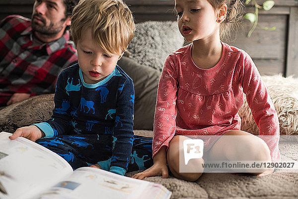 Kinder  die zu Hause ein Buch lesen  Vater im Hintergrund