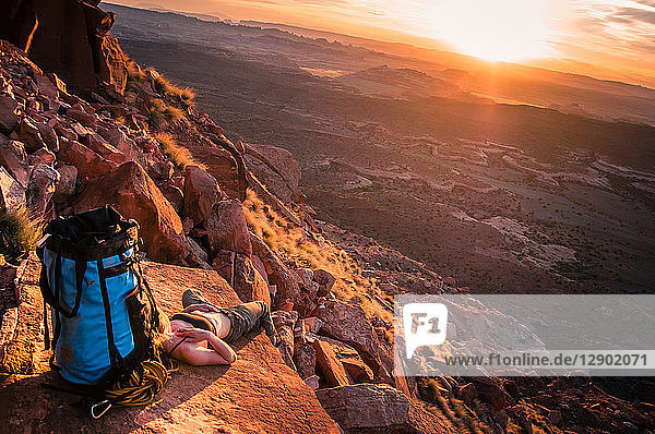Rock climber  Desert Towers  Indian Creek  Moab  Utah  USA