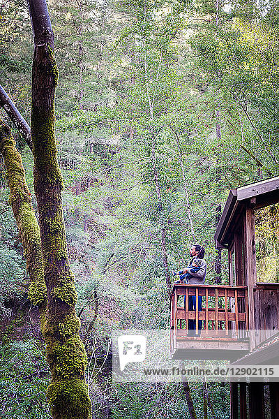 Father with baby son on balcony of stilted wooden house in forest  Cazadero  California  USA
