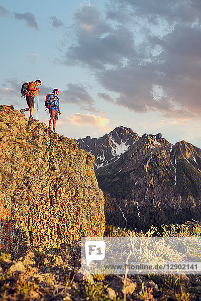 Hikers on mountain peak  Mount Sneffels  Ouray  Colorado  USA