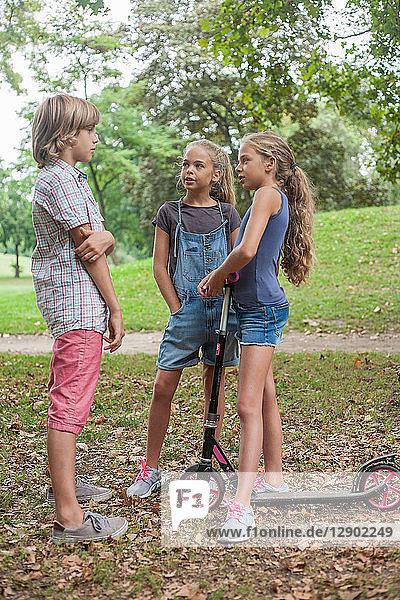 Freunde unterhalten sich im Park