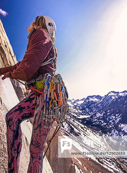 Woman rock climbing  Cardinal Pinnacle  Bishop  California  USA
