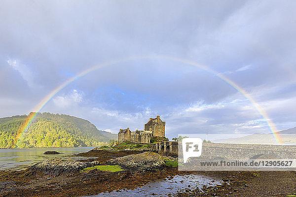 UK  Scotland  Dornie  Loch Duich  Eilean Donan Castle with rainbow