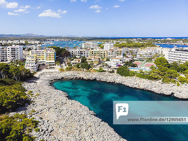 Spain  Mallorca  Portocolom  Aerial view of Punta des Jonc  Bay of Cala Marcal  Hotels