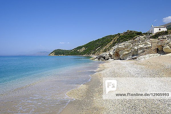 Albania  Vlore County  beach near Lukova  Albanian Riviera  Ionian Sea  Plazhi Shpella
