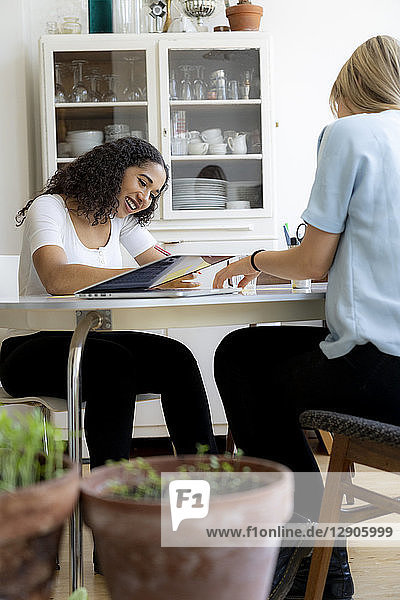 Two friends working at home together  using laptop