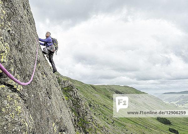 UK  Lake District  Longsleddale valley  Buckbarrow Crag  man climbing in rock wall