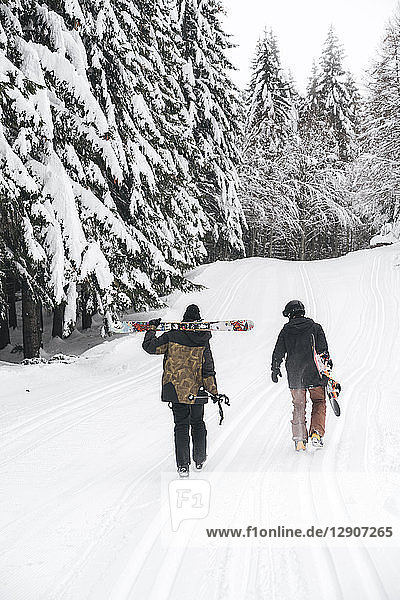 Italy  Modena  Cimone  rear view of couple with skiers and snowboard walking in winter forest