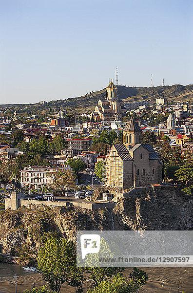 Georgia  Tbilisi  Kura river and Sameba Cathedral in old town