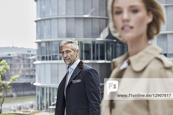 Germany  Duesseldorf  portrait of mature businessman outdoors
