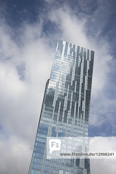 Poland  Warsaw  part of glass facade of modern apartment tower