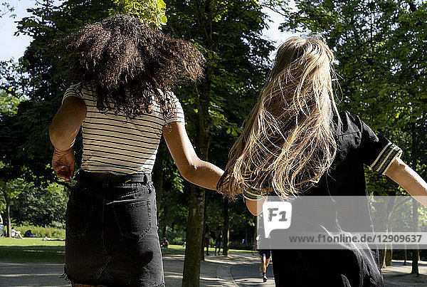 Two girlfriends running in a park  rear view