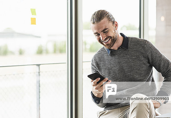 Smiling young businessman looking on cell phone at the window