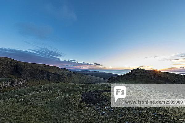 UK  Scotland  Inner Hebrides  Isle of Skye  Trotternish  sunset at observation point at The Storr