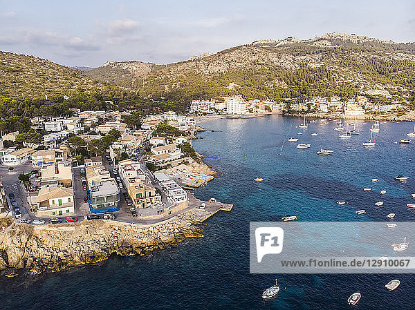 Spain  Balearic Islands  Mallorca  Aerial view of Bay of Sant Elm
