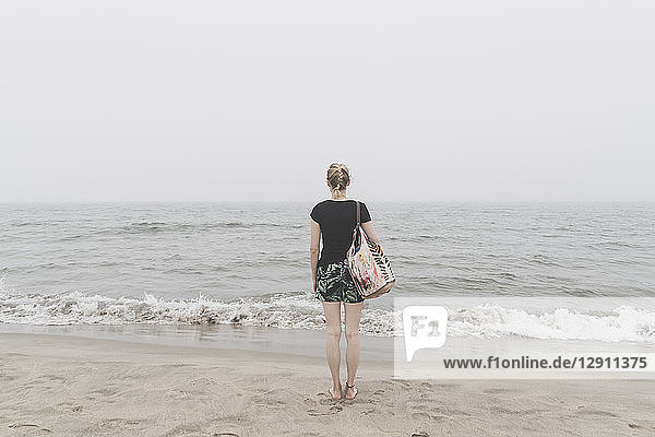 Back view of woman standing on the beach looking at distance