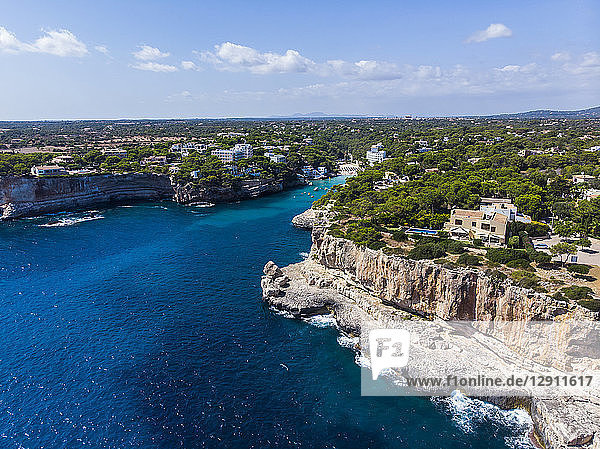 Spain  Balearic Islands  Mallorca  Aerial view of bay Cala Santanyi