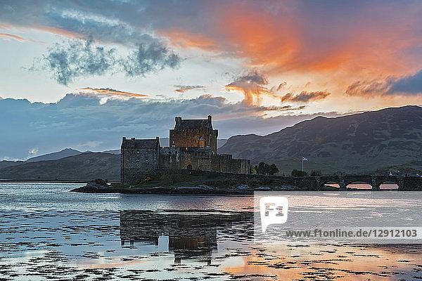 UK  Scotland  Dornie  Loch Duich  Eilean Donan Castle at sunset