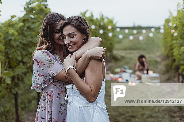 Twin sisters embracing at summer picnic in a vineyard
