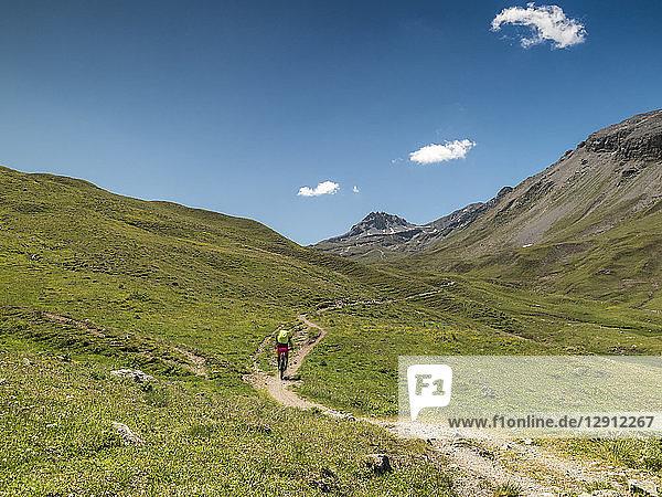Switzerland  Lower Engadin  mountainbiker on path towards Uina gorge