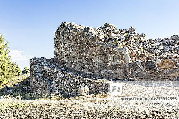 Greece  Peloponnese  Argolis  Tiryns  ancient city  ramp in front of Cyclopean masonry