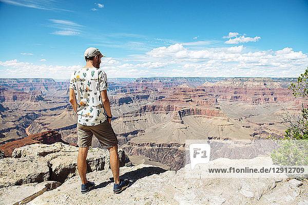 USA  Arizona  Grand Canyon National Park  Grand Canyon  man looking at view