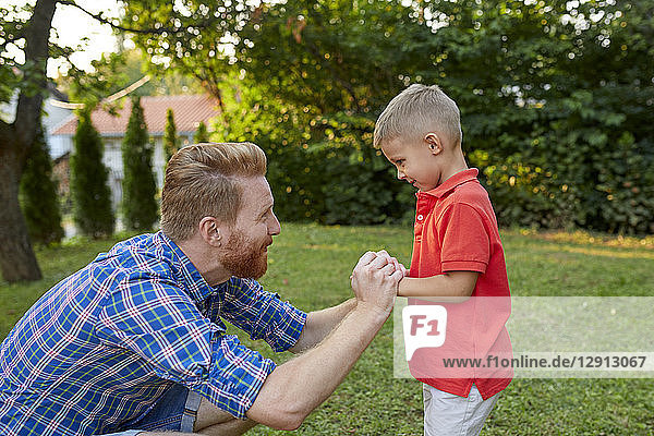 Happy father with his son in garden
