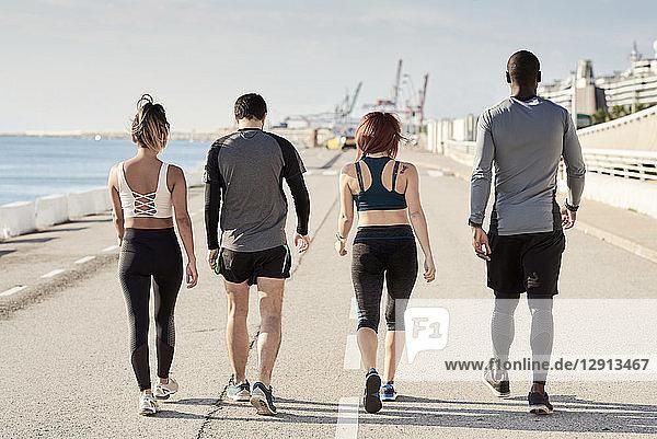 Group of sportspeople walking  rear view