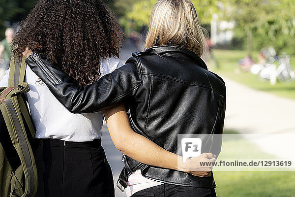 Two girlfriends walking in park  with arms around  rear view