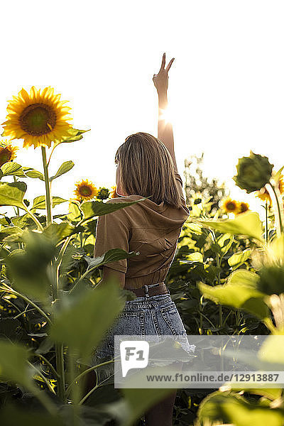 Young woman standing in a sunflower field making victory hand sign