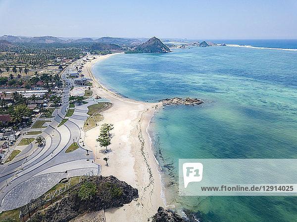 Indonesia  Lombok  Kuta  Aerial view of beach
